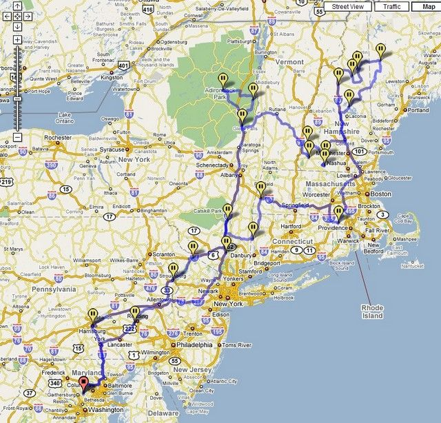 New England Road Trip Map Suggested