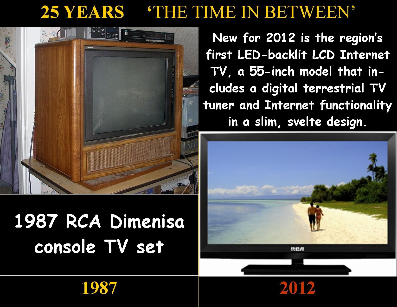 1987 rca tv set and 2012 flat screen 25 years pinterest