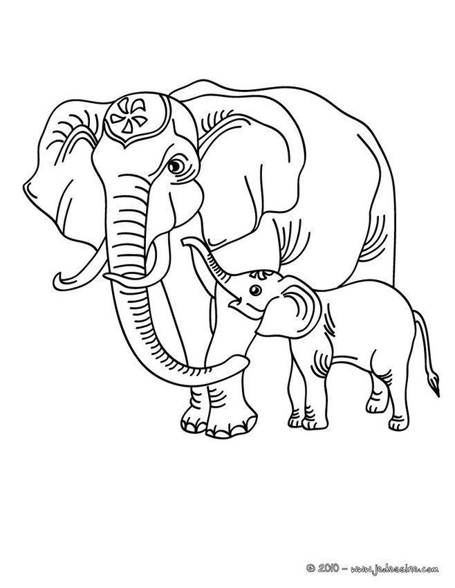 Coloriage Bebe Elephant.Coloriage D Un Elephant Et De Son Bebe Elephants Un Elephanteau Un