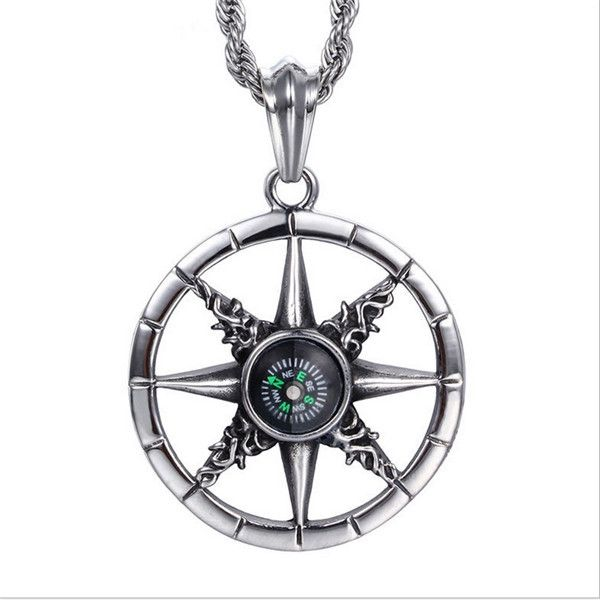 Exquisite high quality titanium steel uniquely designed outdoor exquisite high quality titanium steel uniquely designed outdoor compass pendants chain necklace retro male jewelry n0625 mozeypictures Image collections