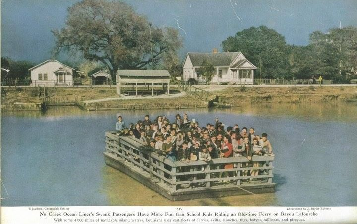1947 National Geographic, school ferry at Larose, before the pontoon bridges.