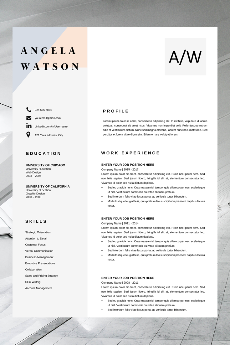Professional Cv Template Word Resume Template Instant Download