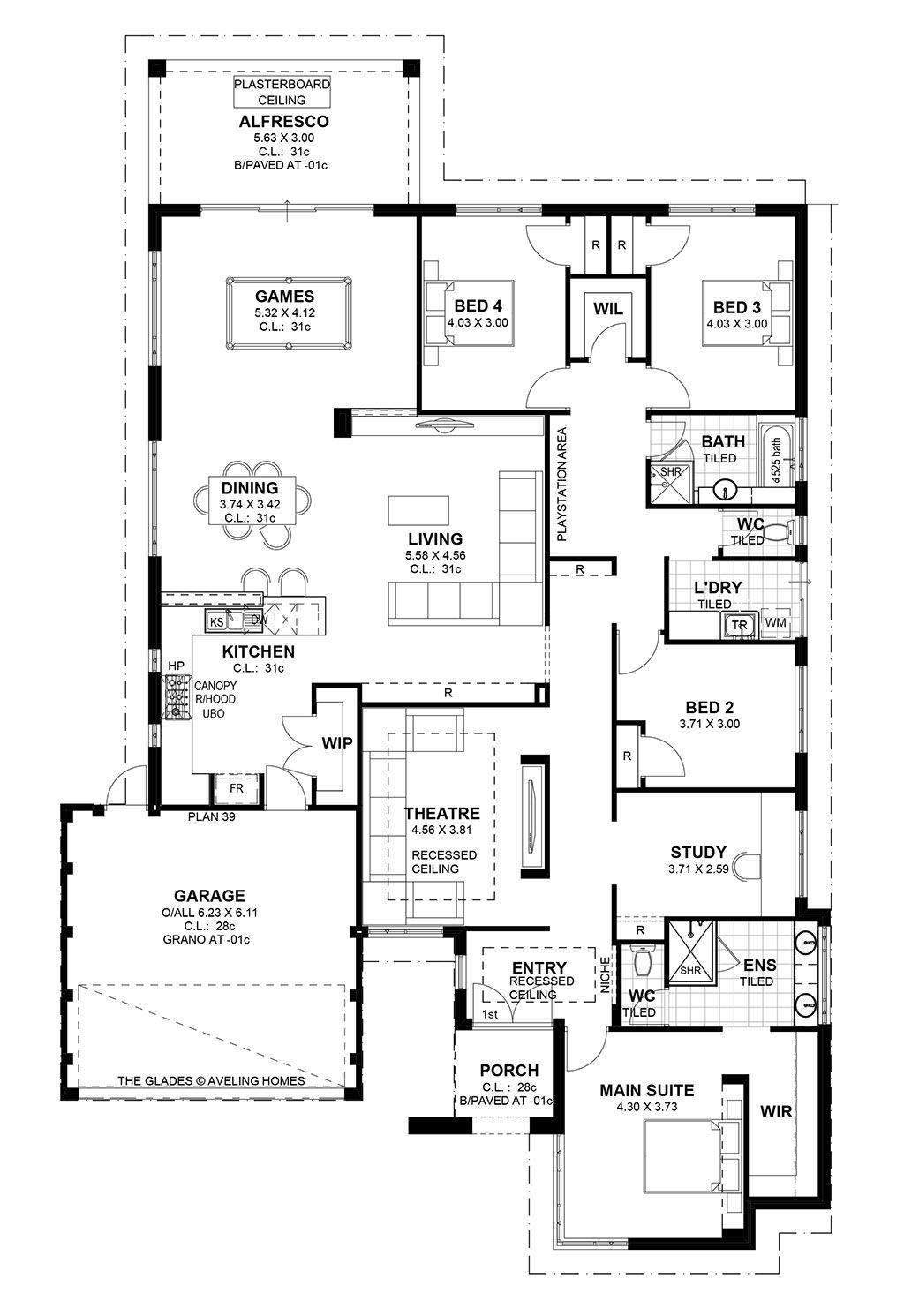 Glades S1 4 Bedroom House Plans Custom Home Plans Floor Plans