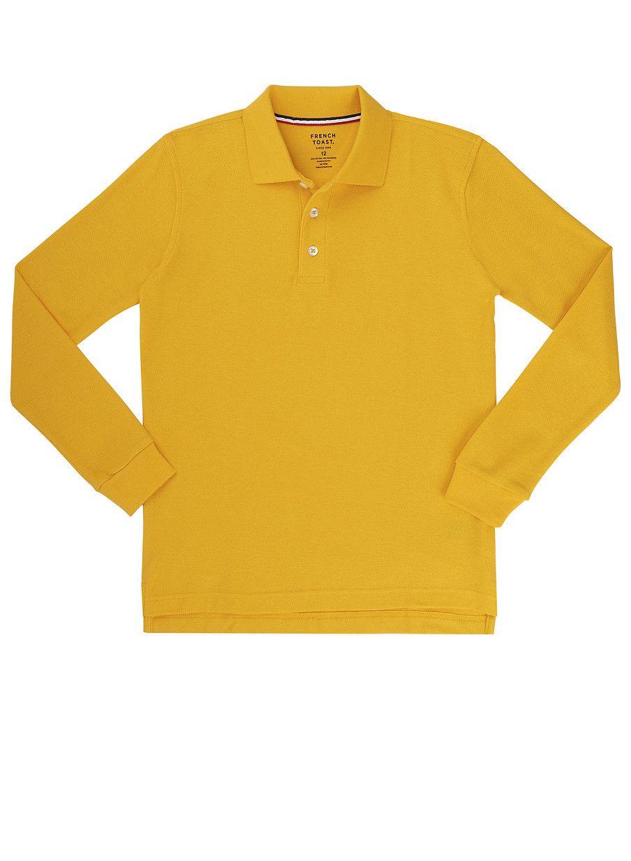 Boys 16 20 Long Sleeve Pique Polo School Uniform Yellow Size Xxl