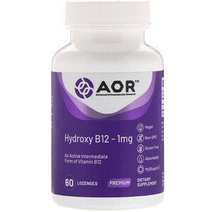 Advanced Orthomolecular Research Aor فيتامين ب 12 في صورة هيدروكسي 1 مجم 60 قرص استحلاب Gluten Free Health Vitamins Dietary Supplements
