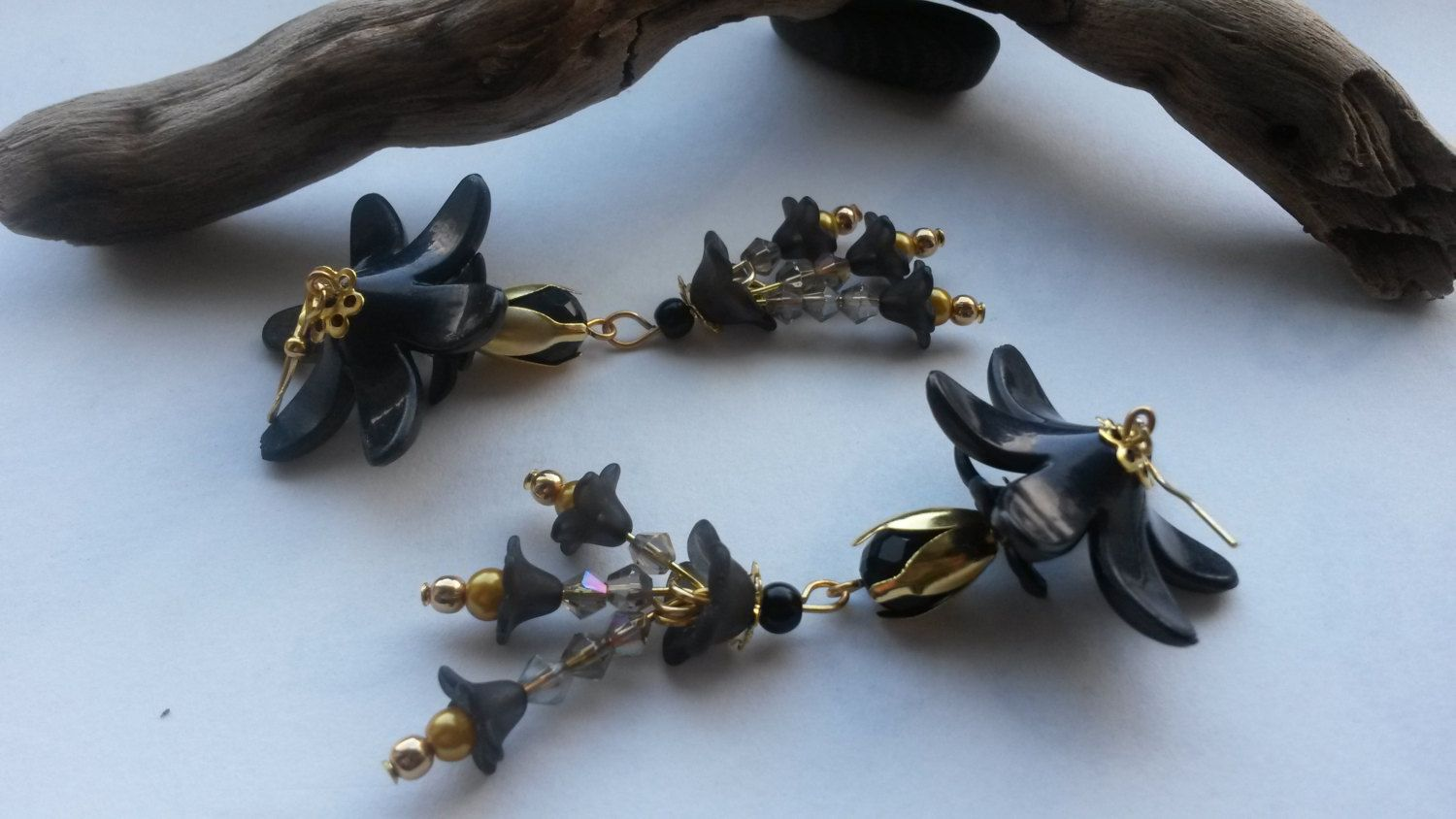 Earrings Large Black and Gold by GreenwoodMakes on Etsy