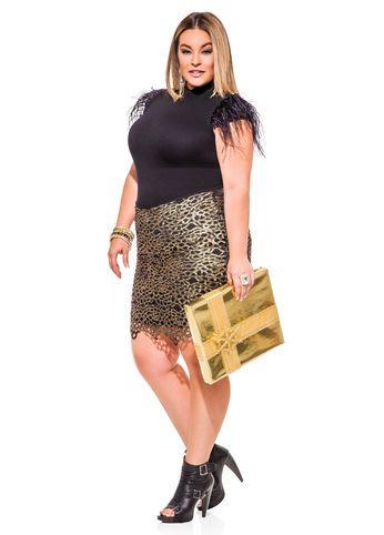 81d0e2935a Ashley Stewart Feather Sleeve Mock Neck Sweater   Gold Foil Crochet Skirt