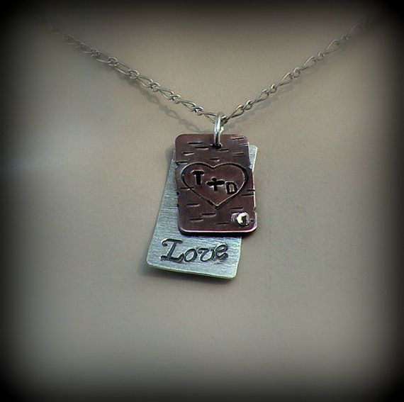 Personalized heart carved tree necklace by DesignsByDomino on Etsy, $45.00