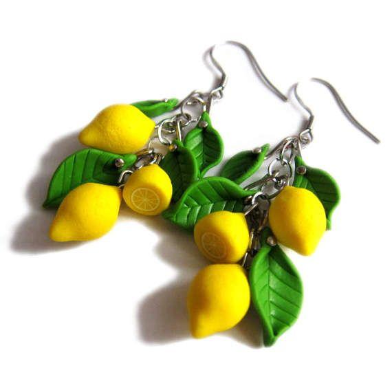 Fruit Earrings Lemon Earrings Polymer Clay Earrings Yellow Lemon Earrings Fruit jewellery handmade Miniature Food Jewelry Polymer Clay Fruit