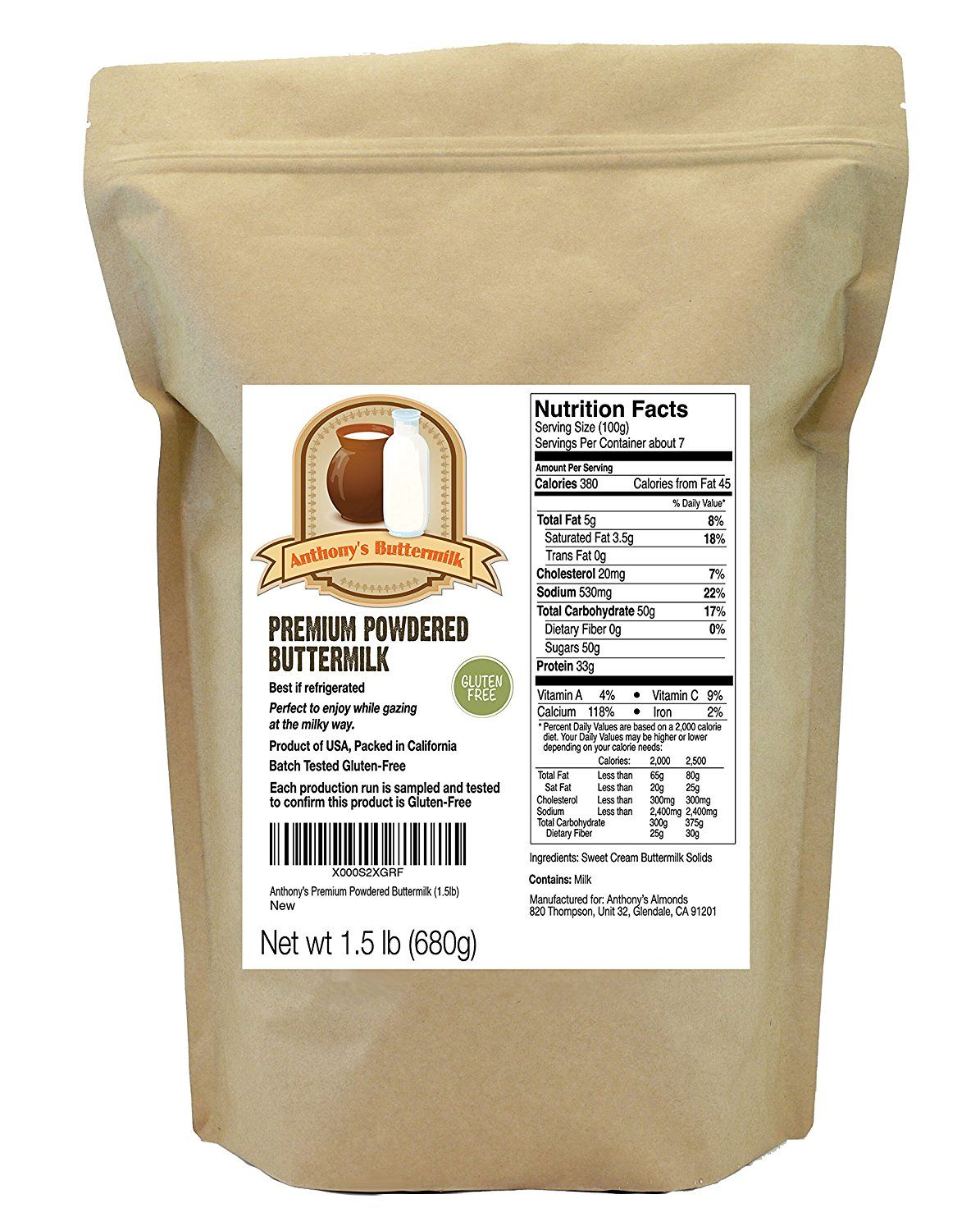 Buttermilk Powder (1.5lbs) by Anthony's, Gluten-Free >>> You can get more details by clicking on the image.