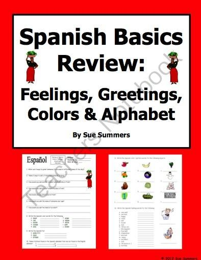 Spanish Basics Review Colors Greetings Feelings And