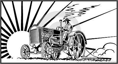 Farmer On A Tractor In The Field Vector Tractors Vector Art Vector Illustration