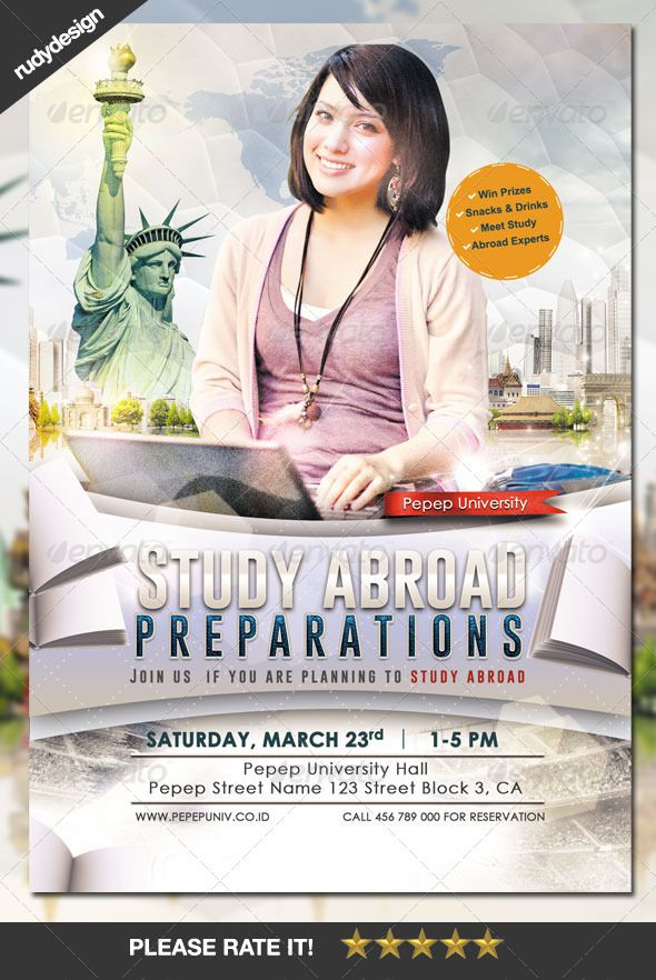 study abroad school college flyer template flyer template