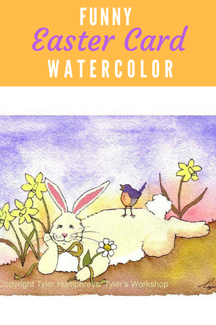 Easter card funny easter greeting card spring watercolor card easter card funny easter greeting card spring watercolor card bunny rabbit art bunny bluebird daffodils kristyandbryce Choice Image