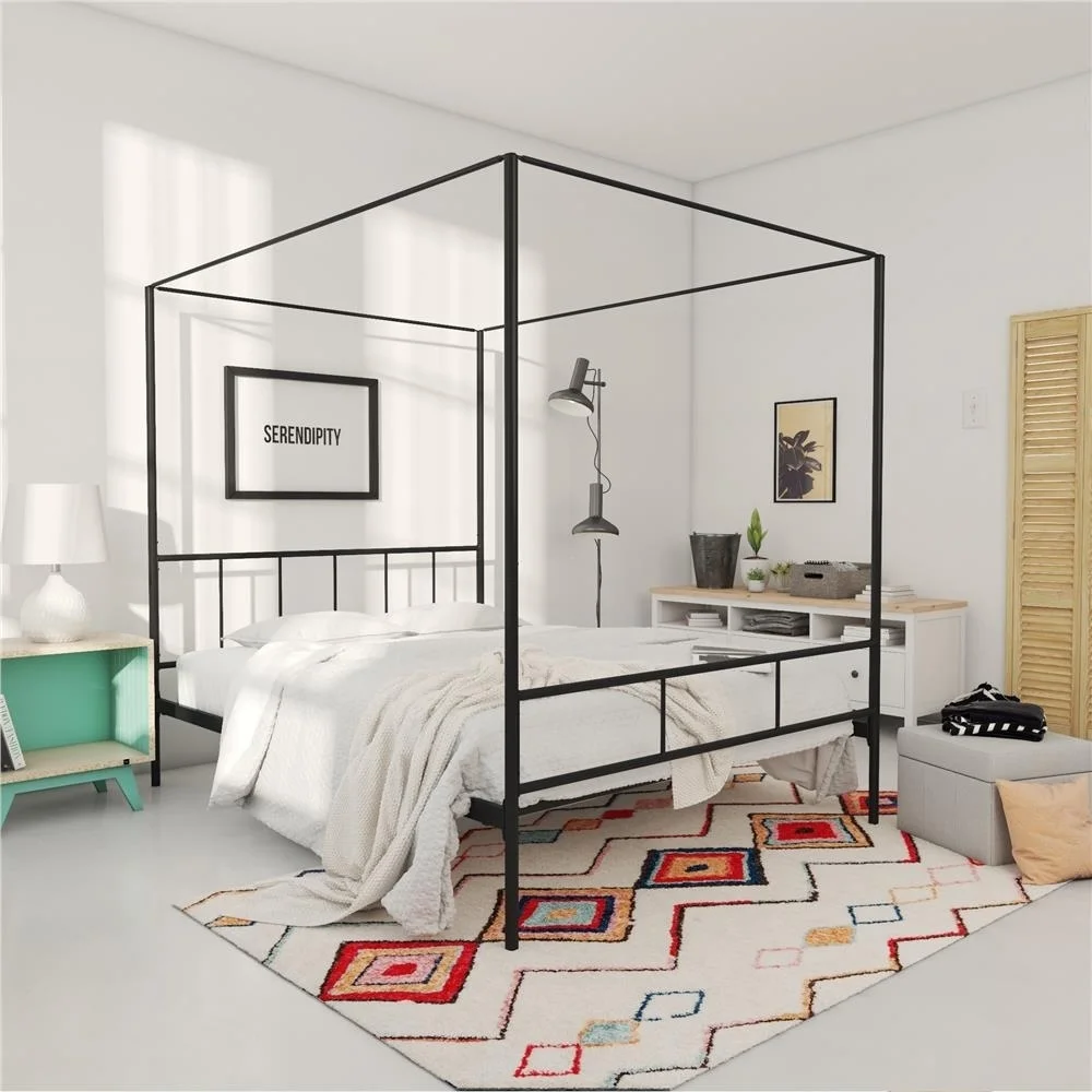 Novogratz Marion Canopy Bed White King In 2020 Canopy Bed