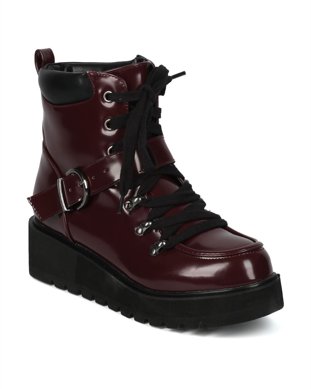 Women Polished Leatherette Lace Up Belted Platform Combat Bootie - HF68 by Qupid Collection