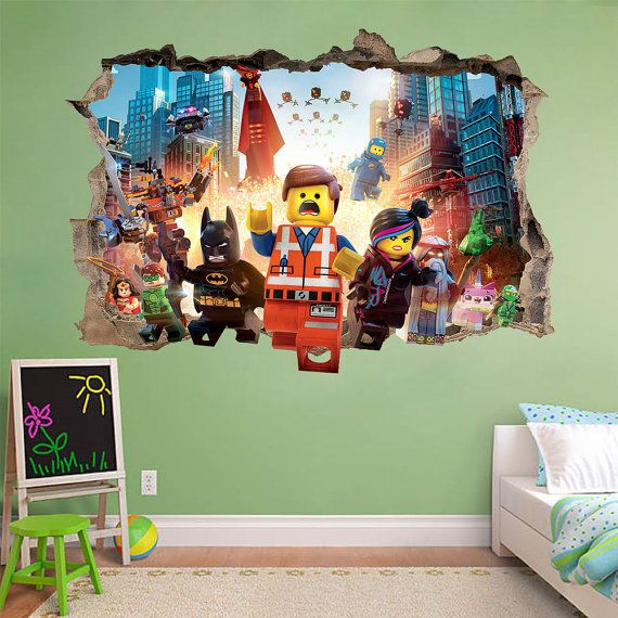 Lego movie 3d wall sticker smashed awesome bedroom kids for Sticker mural 3d