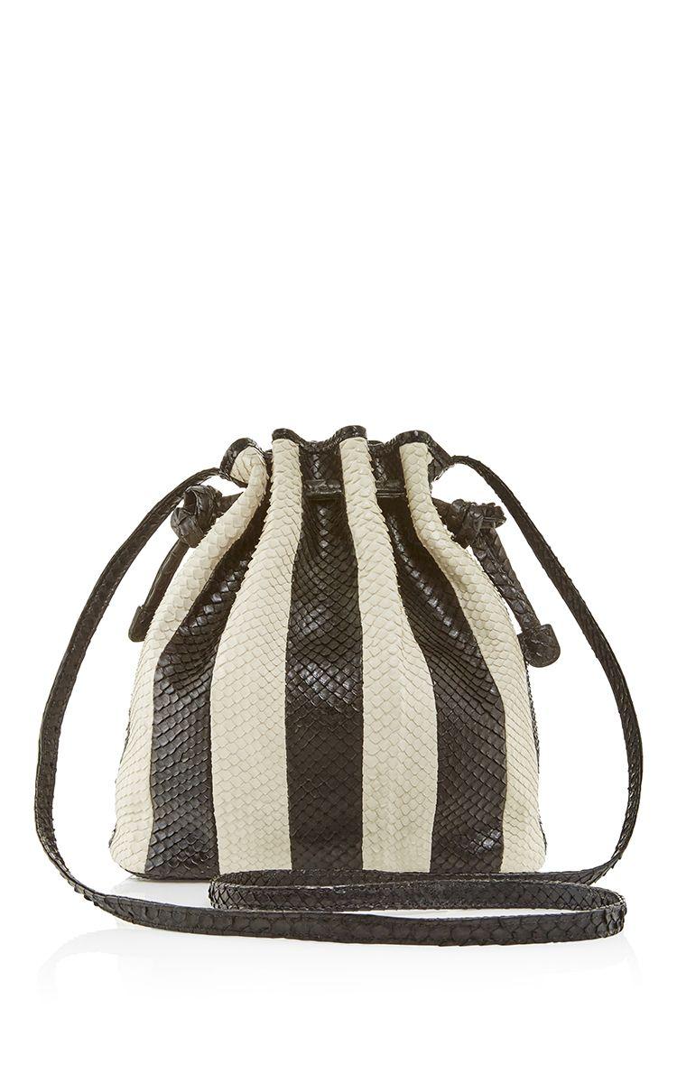 ef40f3a3723c Black   White Striped Python Mini Bucket Bag - Hunting Season Resort 2016 -  Preorder now on Moda Operandi