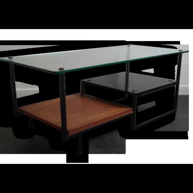 Table basse en verre et m tal des ann es 50 60 design - Film transparent pour table en verre ...
