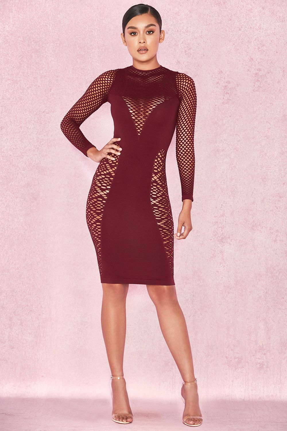 61faae964a8 Clothing   Bodycon Dresses    Silvy  Red Long Sleeve Open Knit Dress ...