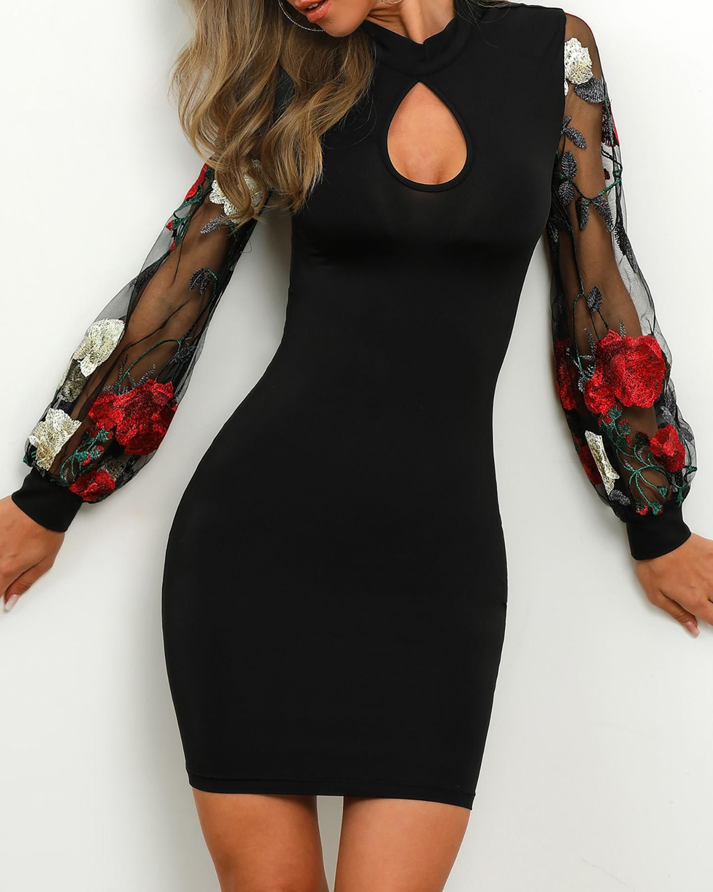 Sheer Mesh Floral Embroidery Sleeve Bodycon Dress -   15 dress Classy bodycon ideas