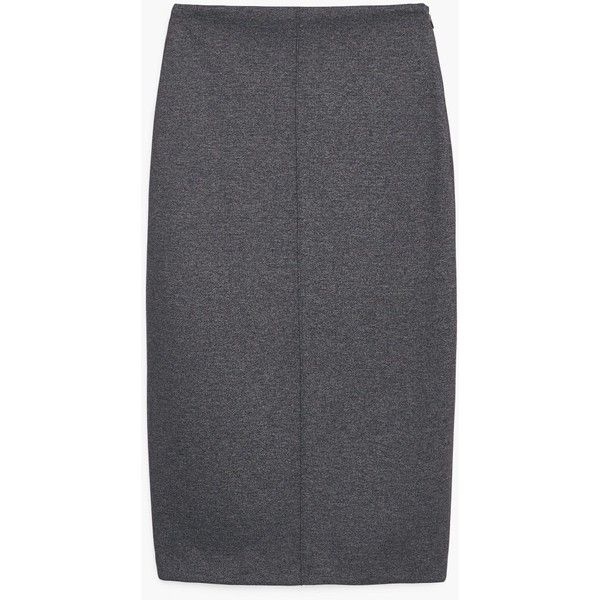 MANGO Vent Pencil Skirt (€55) via Polyvore featuring skirts, jacquard skirt, pencil skirt, mango skirt and knee length pencil skirt