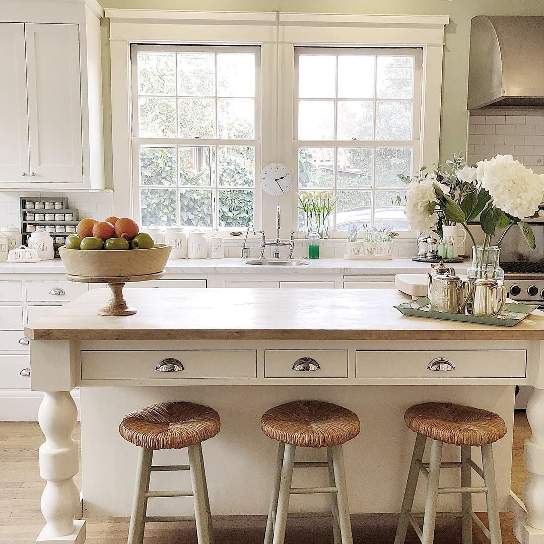 Wooden island (white oak?...match other wood in kitchen) with fat ...