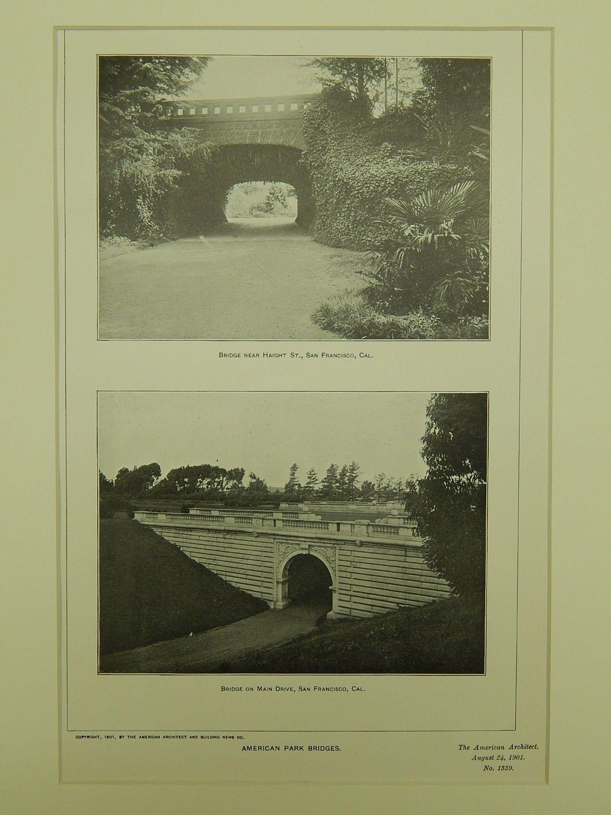 Park Bridges near Haight St. & Main Drive, San Francisco, CA, 1901, Lithograph.