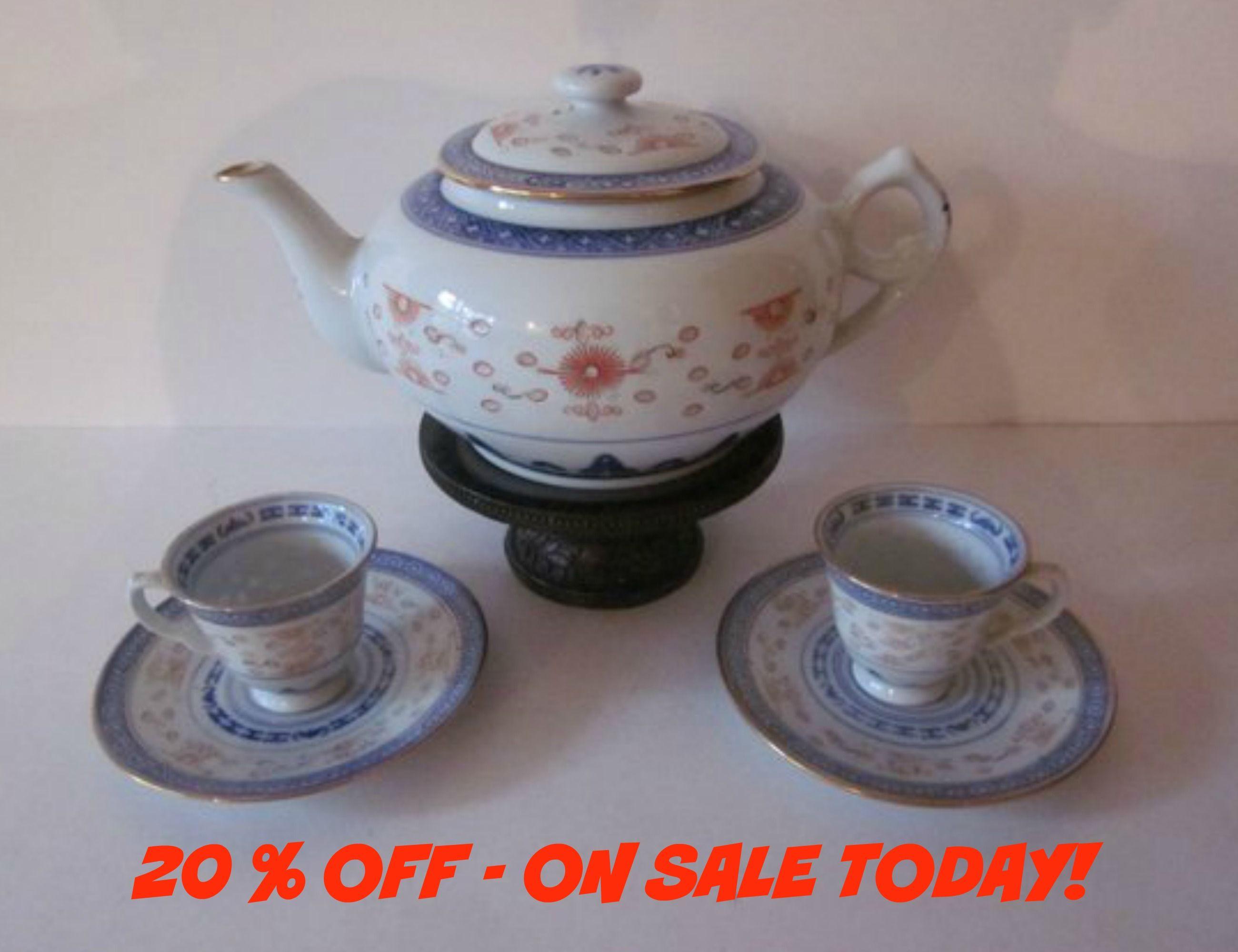 Chinese Porcelain Rice Grain Teapot