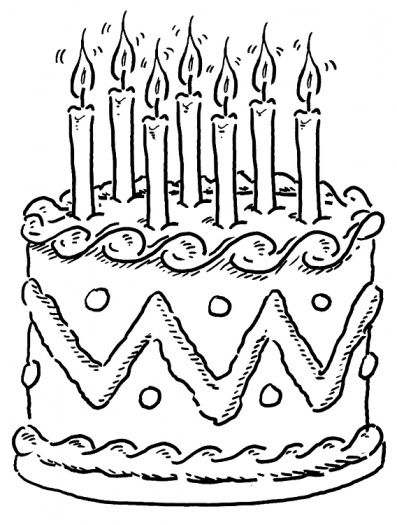 Decorated Birthday Cake Coloring Page Super Cakepins