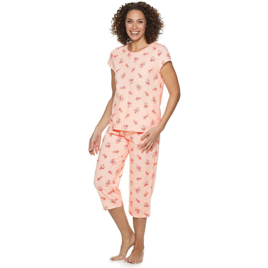 0c23ab5a1b37b Women's Croft & Barrow® Lace-Trim Sleep Tee & Capri Pajama Set, Size:  Small, Lt Orange