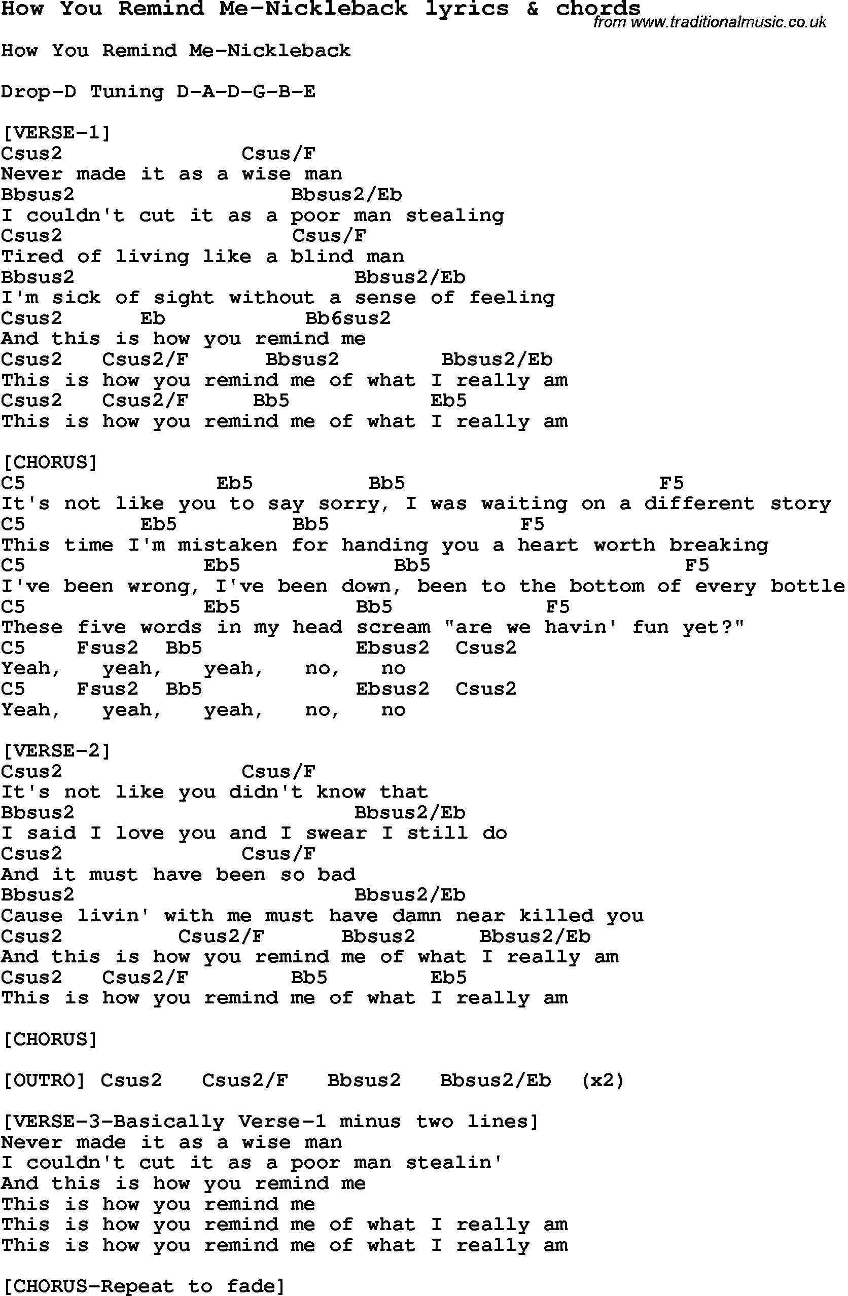 Love Song Lyrics For How You Remind Me Nickleback With Chords For