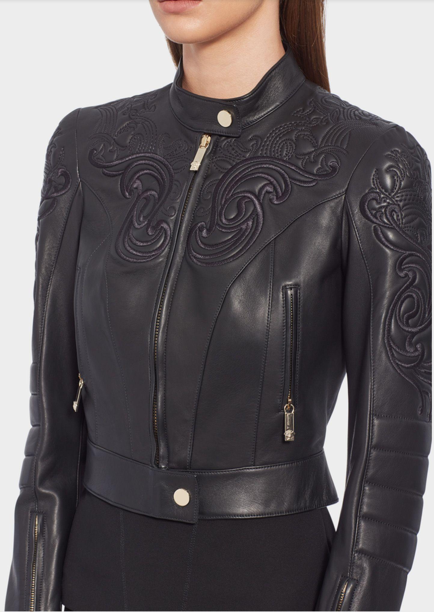 Veste Versace en cuir estampé baroque   Blousons de cuir 399db53cf5c