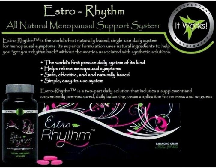 "Estro-Rhythm™ is the world's first naturally based, single-use daily system for menopausal symptoms. Its superior formulation uses natural ingredients to help you ""get your rhythm back"" without the worries associated with synthetic solutions."
