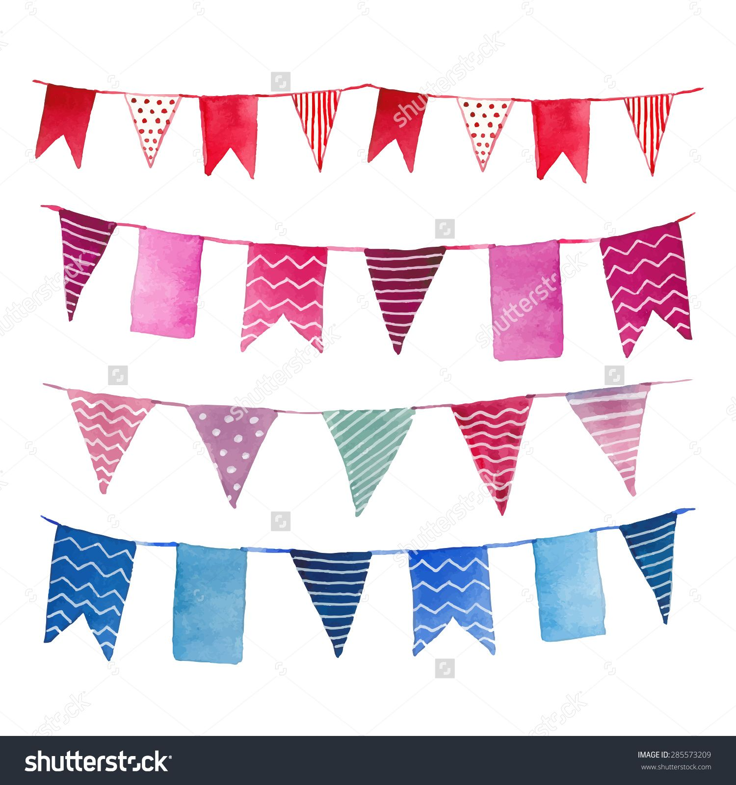 Stock vector watercolor vintage flags garlands set in vector party watercolor vintage flags garlands set in vector party baby room and wedding decor elements with various modern patterns polka dots stripes zigzag junglespirit Choice Image