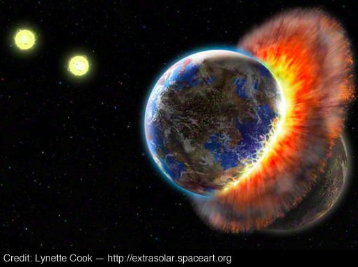 """""""Who doesn't love a 'sister Earth' smashing into another world? Portraying the drama of the crash was a stimulating challenge for me,"""" Cook said.  Credit: Lynette Cook (http://extrasolar.spaceart.org/extraso2.html)"""