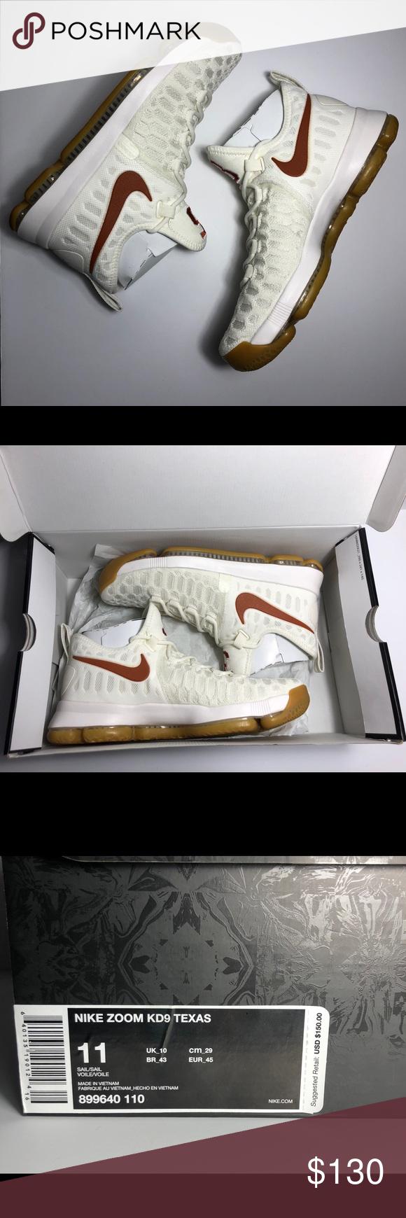 8a73112b3c25 Nike Zoom KD 9 Texas Longhorns Cream Burnt Orange ITEM  100% Authentic New