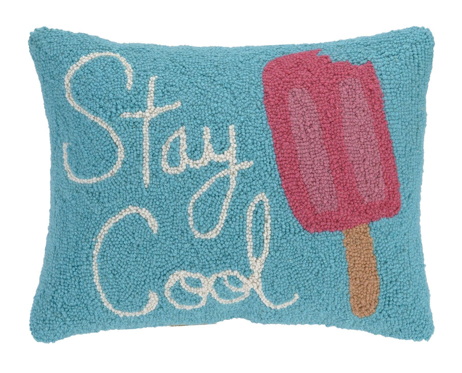 Peking Handicraft Stay Cool Hook Wool Lumbar Pillow Throw Pillows Hooked Wool Lumbar Pillow