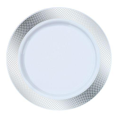 10.25  White/Silver Crystal Plastic Dinner Plates  sc 1 st  Pinterest & 10.25