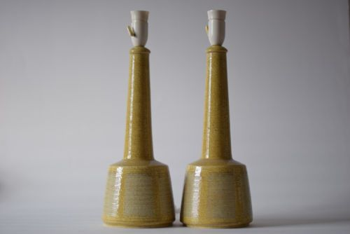 Palshus-Le-Klint-Denmark-Pair-of-lamp-yellow-APLS-337-Danish-pottery-midcentury