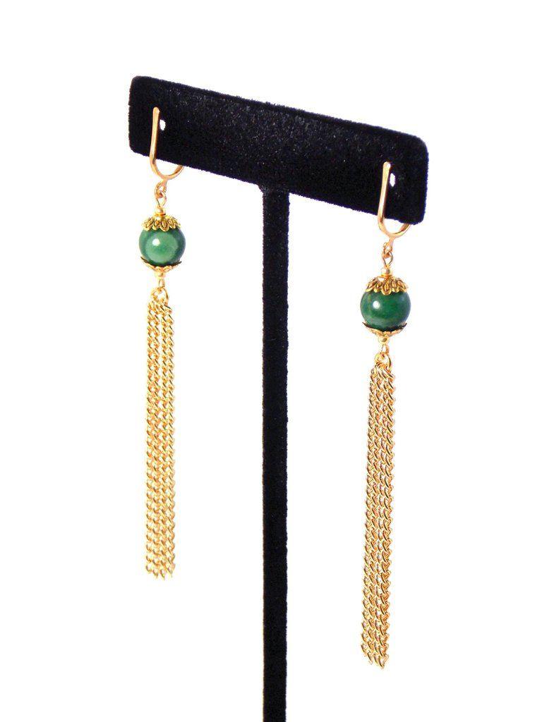 b4b52d765 Green Verdite Stone, Long Gold Dangle Tassel Chain Earrings (Clip On  Optional)
