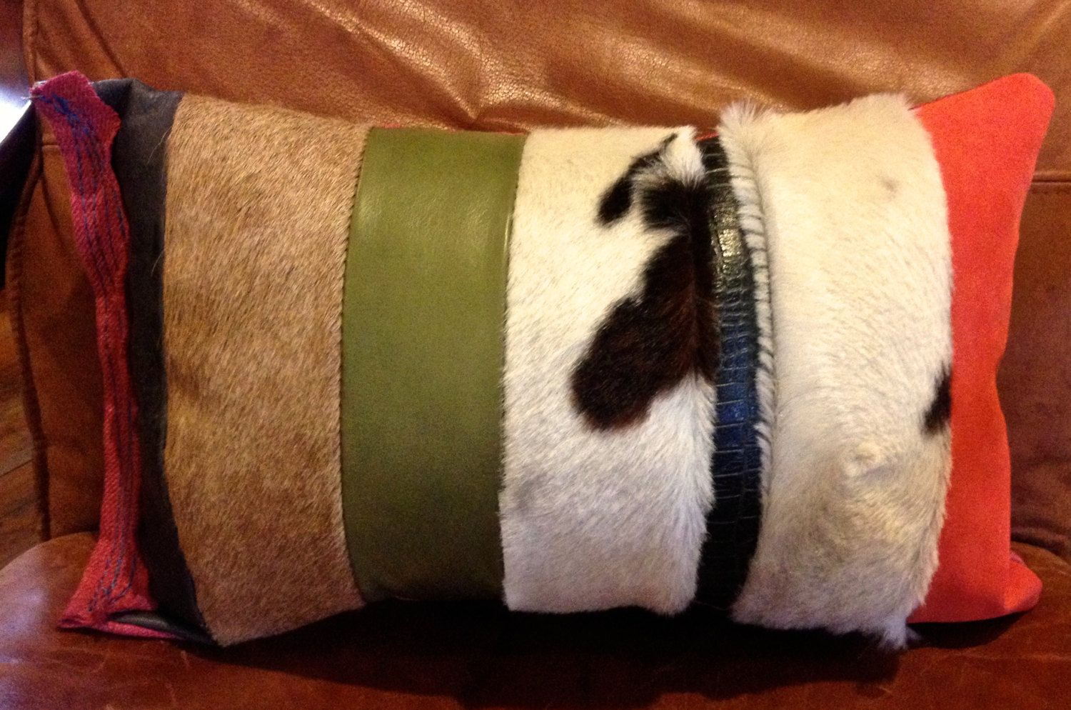 Leather Patchwork Pillow with Hair on Cowhide by GretelStoudt on Etsy