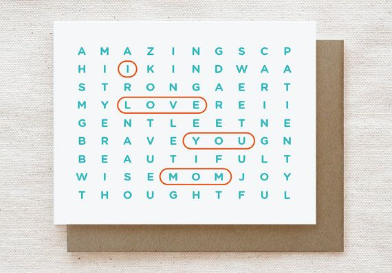 Mothers Day Card Mom Birthday Card I Love You Mom Wordsearch