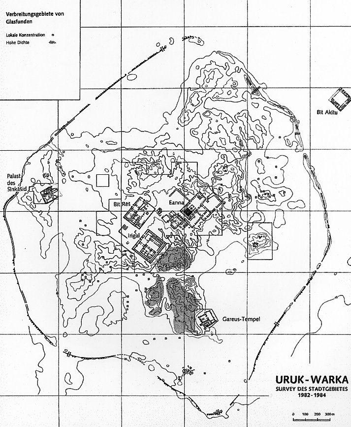 City plan of Uruk, Sumerian capital during Uruk period