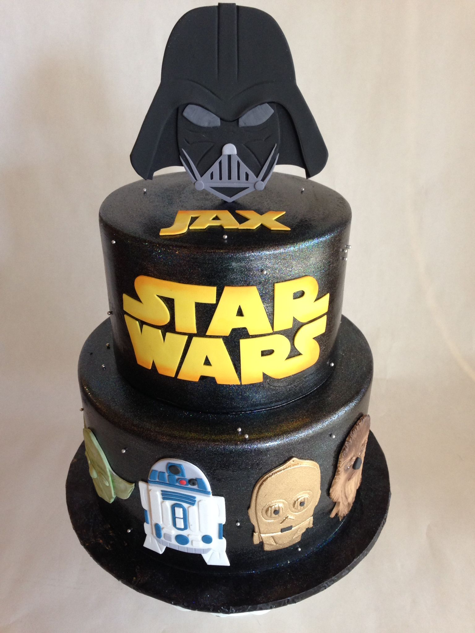 Birthday Cake Star Wars Fondant Darth Vader R2d2 Yoda C3po