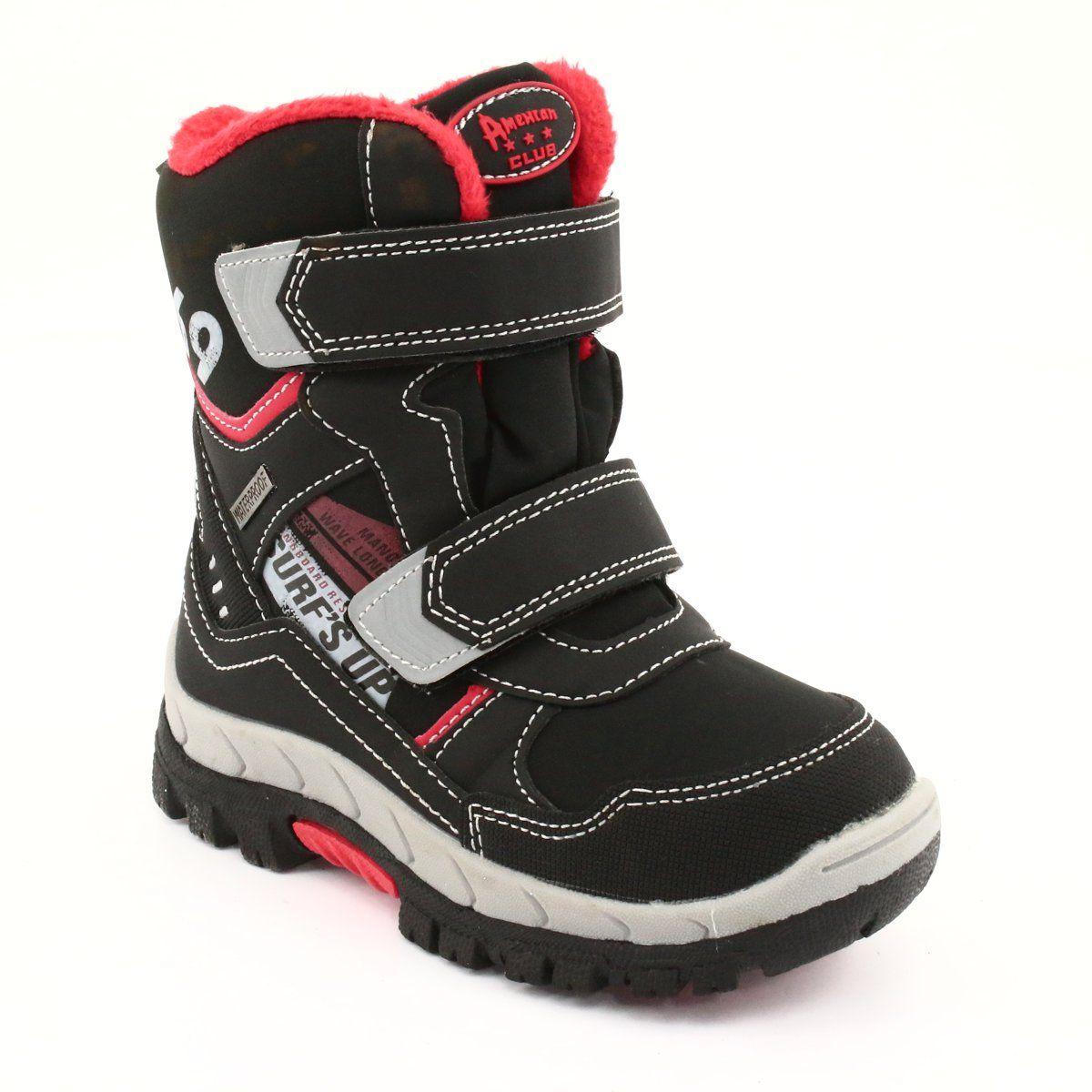 American Club Kozaki Z Membrana Rl34 Czarne Czerwone Boots Childrens Boots Kid Shoes