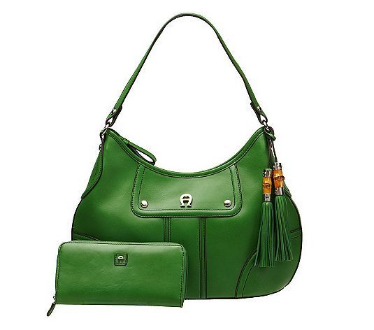 Etienne Aigner Leather Hobo Bag w  Zip Closure  amp  Leather Wallet - Grass  Green e3b6f6fca2393