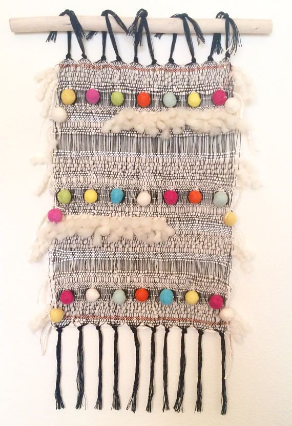 Dots Handwoven Wall Hanging Hand Weaving Tapestry Loom
