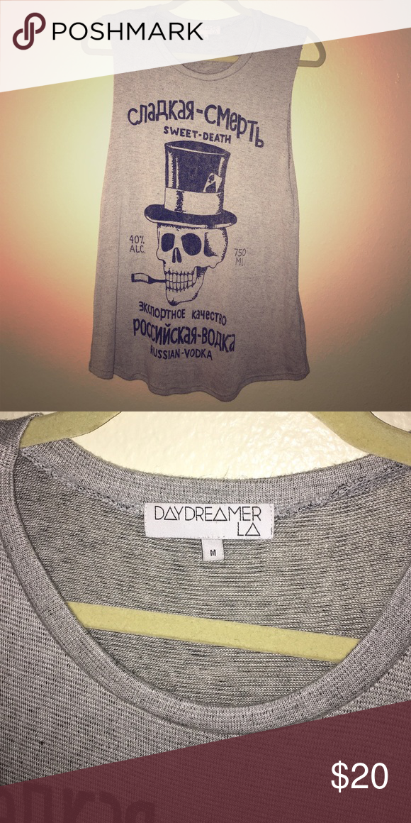 Urban Outfitters Sleeveless T-shirt Soft sleeveless T from Urban Outfitters. Has large arm holes and hits far below waist but not to mid thigh. Skull on front. Size Medium but can fit Small and Large as well. DAYDREAMER Tops Tank Tops