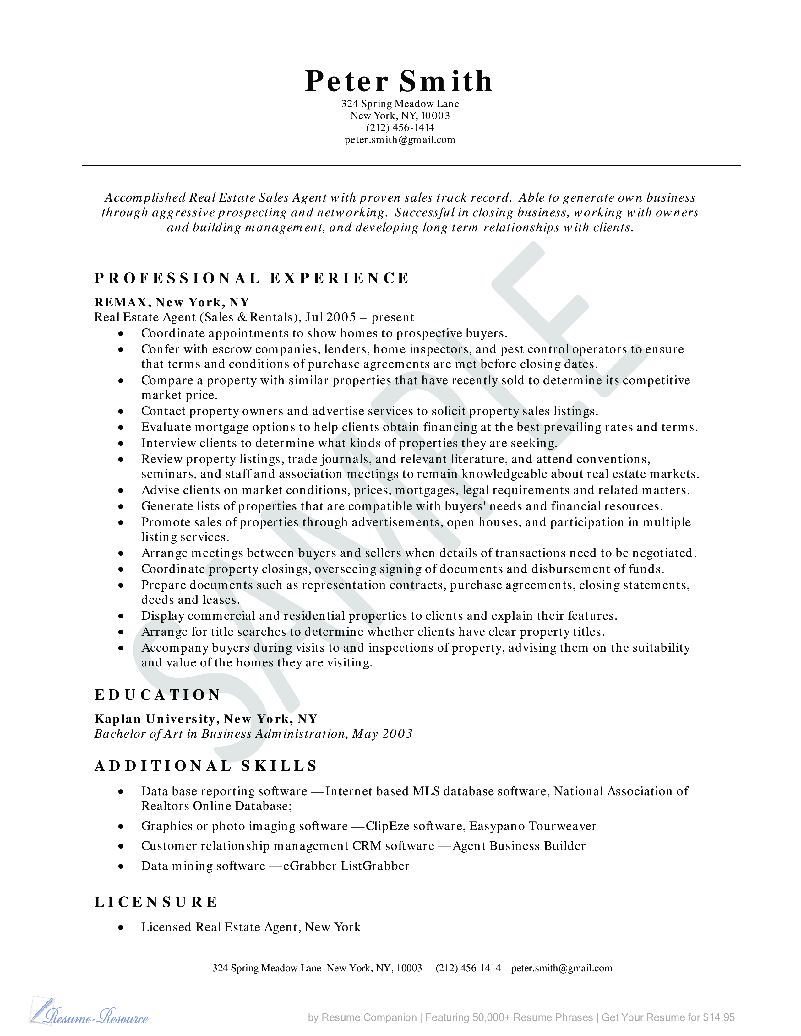 Real Estate Sales Resume Real Estate Agent Resume Example Business Resume Example